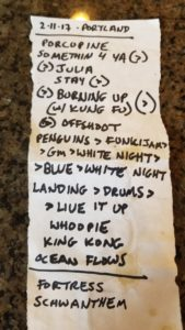 Photo of setlist